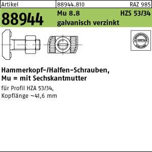 Halfenschraube ART 88944 Halfenschr. HZS 53/34 8.8 M 16 x 60 galv. verzinkt gal Zn
