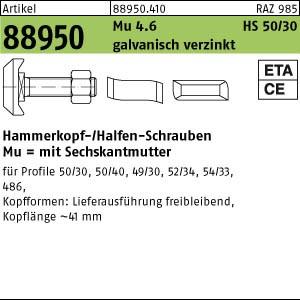 Hakenkopf-Schr. m. Mu ART 88950 Halfenschr. Typ 50/30 4.6 M 10 x 30 galv. verzinkt gal Zn