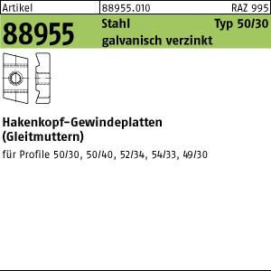 Hakenkopf-Gew.platten ART 88955 Hakenkopf Gewindeplatte Typ 50/30, M 8 , gal Zn gal Zn 50 Stk.