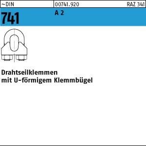 Drahtseilklemmen DIN 741 A 2 3 mm / M 4 1/8 ähnl. DIN 741 A 2 50 Stk.