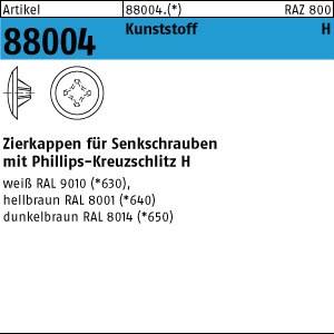 Zierkappen m.KS-Profil ART 88004 Kappen 2 x 12/3,5-5 für Kreuzschlitz H, h. braun Kunstst