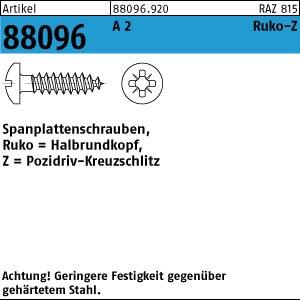 Spanplattenschrauben ART 88096 Spanplattenschr. A 2 3 x25-Z Halbrundkopf A 2