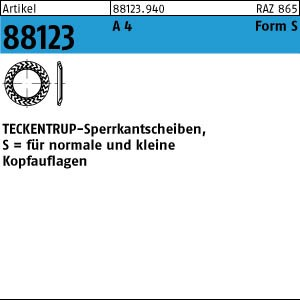 TECKENTRUP-Sperrkants. ART 88123 TECKENTRUP-Sperrkantscheiben A 4 SKS 4 A 4