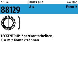 TECKENTRUP-Sperrkants. ART 88129 TECKENTRUP-Sperrkantscheiben 1.4401, SKK 4, m. Kontaktzähnen A 4