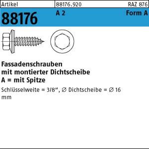 Fassadenschrauben ART 88176 Fassadenschr. A 2 A 6,5 x 16 Neoprenscheibe 16 A 2
