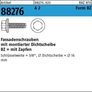 Fassadenschrauben ART 88276 Fassadenschr. A 2 BZ 6,3 x 16 Neoprenscheibe 16 A 2