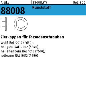 Zierkappen ART 88008 Kappen f. Fassadenschr. SW 3/8 Ø 19 h. grau, RAL 9002 Kunstst