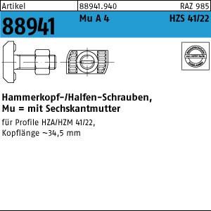 Hammerkopf-Schr. m. Mu ART 88941 Halfenschr. Typ HZS 41/22 A 4 M 12 x 50 A 4