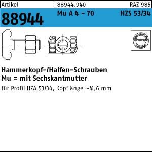 Halfenschraube ART 88944 Halfenschr. HZS 53/34 A 4-70 M 16 x 60 A 4