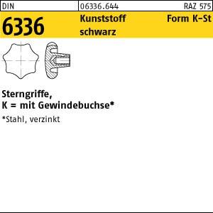 Sterngriffe DIN 6336 Kunstst. schwarz K 25 M 5 Gewindebuchse Stahl gal Zn KU-St