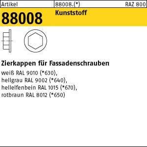 Zierkappen ART 88008 Kappen f. Fassadenschr. SW 3/8 Ø 19 weiß, RAL 9010 Kunstst