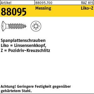 Spanplattenschrauben ART 88095 Spanplattenschr. 3,5 x 16 -Z Messing, Linsensenkkopf Ms