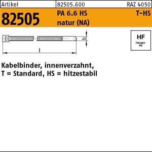 Kabelbinder,Form T-HS ART 82505 PA 6.6 2,5 x 100/ 22 Kabelbinder, natur, T 18R-HS