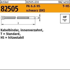 Kabelbinder, Form T-HS ART 82505 PA 6.6 2,5 x 100/ 22 Kabelbinder, schwarz, T 18R-HS