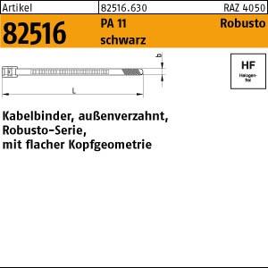 Flachprofilkabelbinder ART 82516 Flachprofilkabelbinder Robusto PA11 schwarz 9,0 x 180
