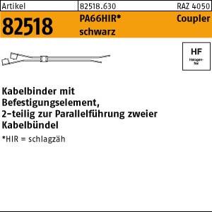 Kabelbinder ART 82518 Kabelbinder zur Parallelführ. PA66HIRHS schwarz 4,6 x 200