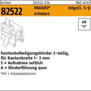 Befestigungsbinder ART 82522 Befestigungsbinder m. Edgeclip PA66HS schwarz 3,6 x 150 S-A