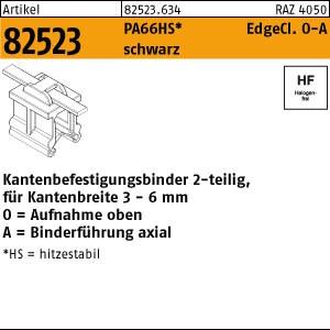 Befestigungsbinder ART 82523 Befestigungsbinder m. Edgeclip PA66HS schwarz 4,6 x 200 O-A