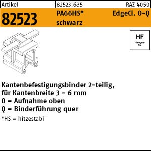Befestigungsbinder ART 82523 Befestigungsbinder m. Edgeclip PA66HS schwarz 4,6 x 150 O-Q