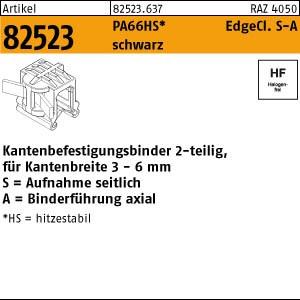 Befestigungsbinder ART 82523 Befestigungsbinder m. Edgeclip PA66HS schwarz 4,6 x 200 S-A