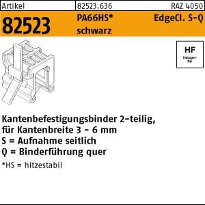 Befestigungsbinder ART 82523 Befestigungsbinder m. Edgeclip PA66HS schwarz 4,6 x 200 S-Q
