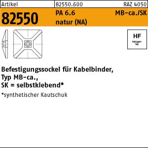 Befestigungss.,natur ART 82550 PA 6.6 B = max. 5,4 Bef.-Sockel, natur,SK MB4CA(S)
