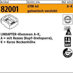 LINDAPTER-Klemmen A-K ART 82001 LINDAPTER GT A KM 10 galv. verzinkt, kurz 1 Stk.