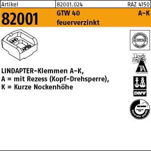 LINDAPTER-Klemmen A-K ART 82001 LINDAPTER GT A KM 10 feuerverzinkt, kurz 1 Stk.
