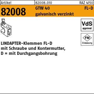 LINDAPTER-Klemmen FL-D ART 82008 LINDAPTER GT FL 1-D 9 M 8 galv. verzinkt