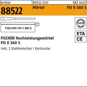 FISCHER-Mörtel ART 88522 FISCHER FIS V 360 S 1 Stk. = 1 Kartusche + 2 Mischer 6 Stk.