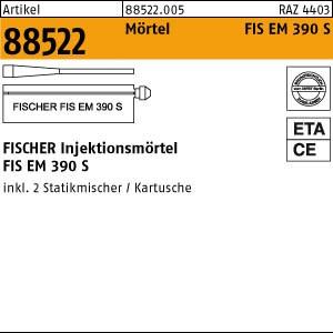 FISCHER-Mörtel ART 88522 FISCHER FIS EM 390 S 1 Stk. = 1 Kartusche + 2 Mischer 6 Stk.