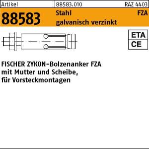 FISCHER-Zykon-Anker ART 88583 FISCHER-Zykon Anker FZA 8.8 10 x 40 M 6/10 gal Zn