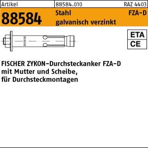 FISCHER-Zykon Anker ART 88584 FISCHER-Zykon-Durchst-ank. St. gal Zn, FZA-D 12 x 50 M 8D/10