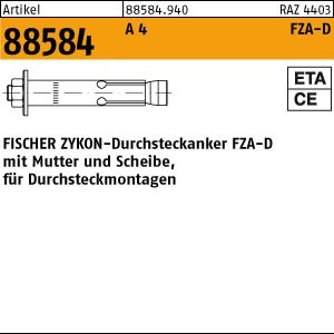 FISCHER-Zykon Anker ART 88584 FISCHER-Zykon-Durchsteckan. A4 FZA-D 12 x 50 M 8D/10