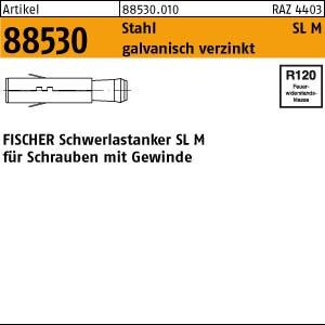 FISCHER-Schwerl.dübel ART 88530 FISCHER-Schwerlastdübel St./gal Zn, SL M 16 10 Stk.