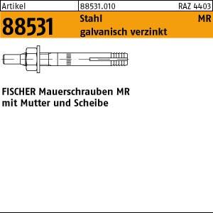 FISCHER-Mauerschraube ART 88531 FISCHER-Mauerschrauben MR 8 St. gal Zn, m. Mutter u. Scheibe