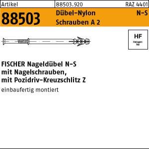 FISCHER-Nageldübel N ART 88503 FISCHER-Nageldübel N-S 5 x 30 -Z Schraube A 2