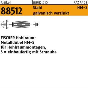 FISCHER-Hohlraum-Dübel ART 88512 FISCHER-Hohlraum-Metalldübel HM 4 x 32 S galv. verzinkt 50 Stk.