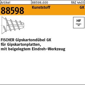 FISCHER-Gipskartondübe ART 88598 FISCHER-Gipskartondübel GK Kunstst.,m. je 1 Setzwerkzeug 100 Stk.