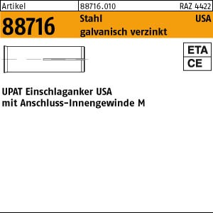 UPAT-Schlaganker ART 88716 UPAT-Schlaganker Stahl gal Zn USA M 6 - N